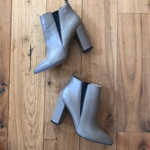 BCBG Gray Leather Booties